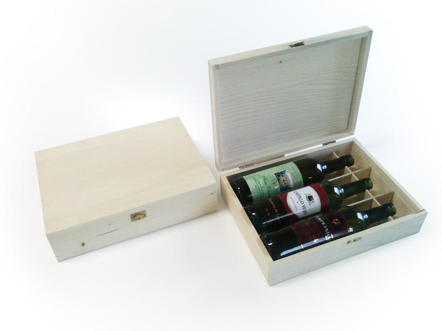 Drevená kazeta pre tri fľaše